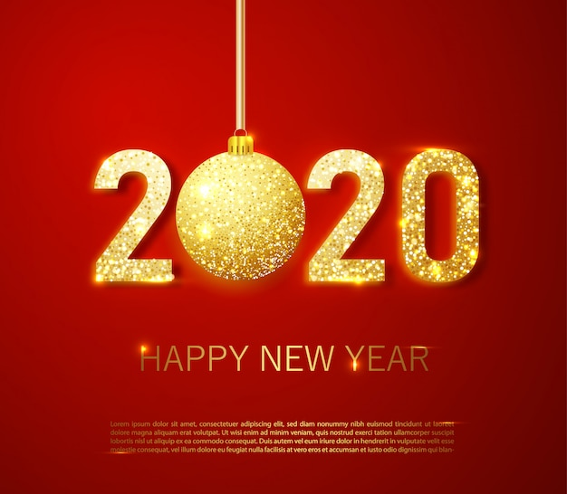 Números dorados realistas 2020 y confeti festivo, estrellas y cintas en espiral sobre fondo rojo.