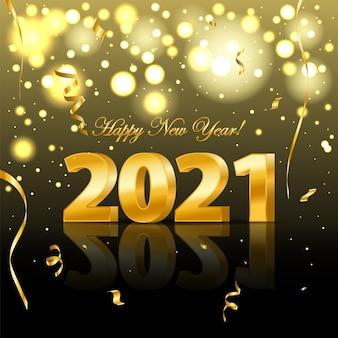 Números dorados realistas y confeti festivo, estrellas y cintas en espiral. decoración navideña con partículas brillantes de oropel. feliz año nuevo. ilustración eps10