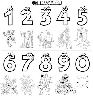 Números educativos con libro de colores de personajes de halloween
