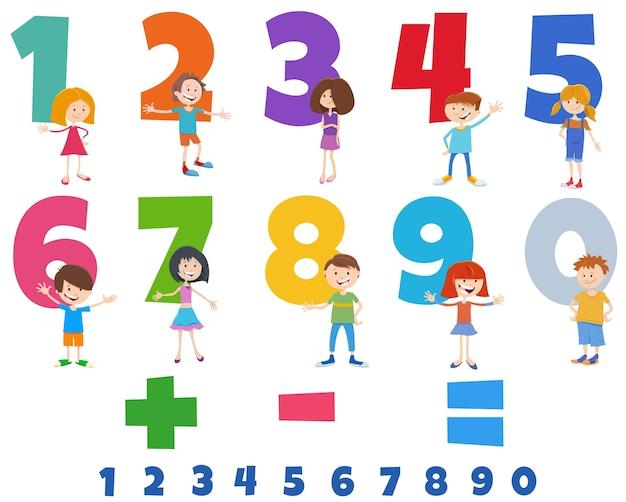 Números educativos con personajes de niños felices.