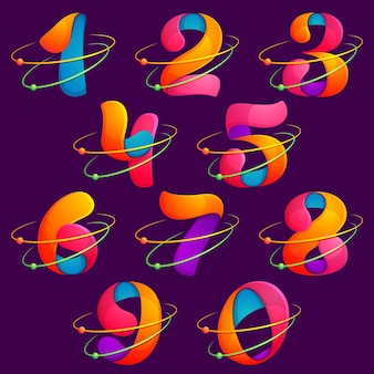 Los números establecen logotipos con órbitas de átomos. diseño de banner, presentación, página web, tarjeta, etiquetas o carteles.