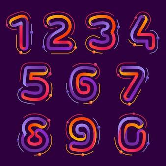 Los números establecen logotipos con órbitas de átomos. diseño de vector de color brillante para ciencia, biología, física, empresa química.