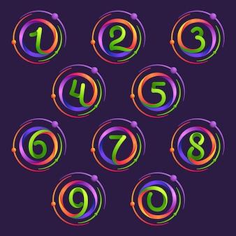 Los números establecen logotipos con órbitas de átomos.