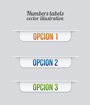 Números de etiquetas sobre fondo gris ilustración vectorial