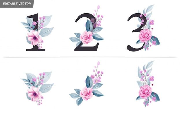 Números florales con flores de acuarela y decoración de hojas.
