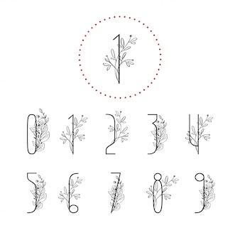 Números florales de primavera con rama de árbol