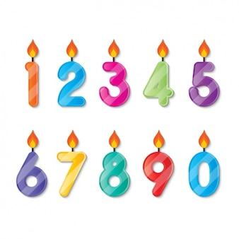 Numeros con forma de velas de cumpleaños