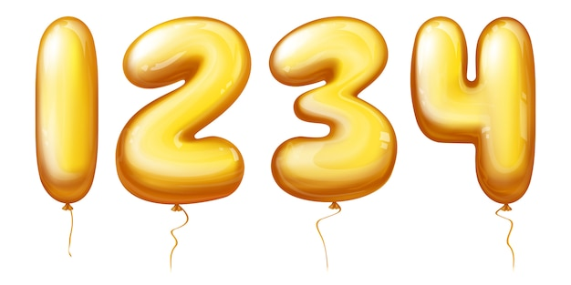Números de globos - uno, dos, tres, cuatro