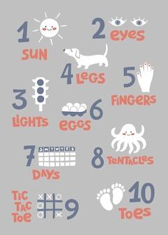 Números con ilustraciones para niños.