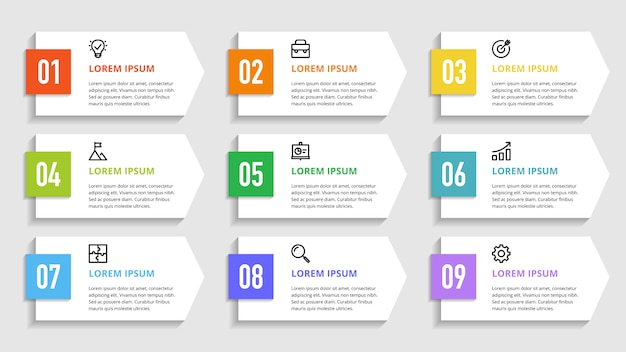 Números infográficos para opciones de negocios, pasos, procesos