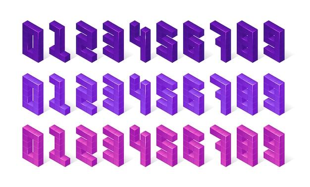 Números isométricos morados hechos de cubos 3d