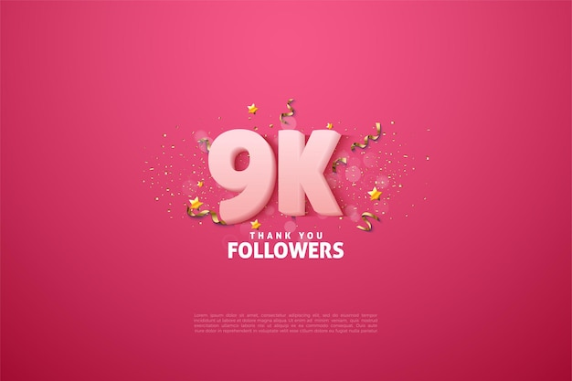 Números y letras en blanco suave para agradecer a los seguidores de 9k