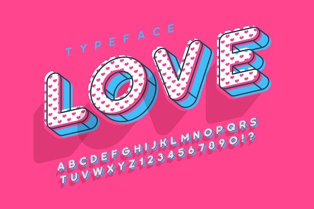 Números, letras y diseño de alfabeto de popart moderno lineal.