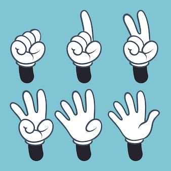 Números de mano dibujos animados manos personas en guante, lenguaje de señas palma dos tres uno cuatro dedos, ilustración