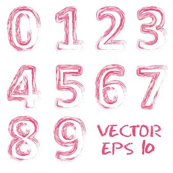 Números manuscritos rojos del vector.