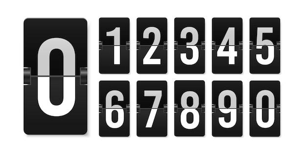 Números de marcador de cuenta regresiva calendario realista de vector de puntuación mecánico retro aeropuerto flipboard