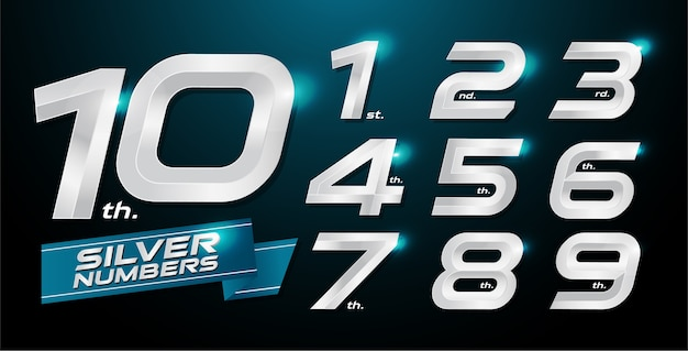Números metálicos. números de plata. 1, 2, 3, 4, 5, 6, 7, 8, 9, 10, logotipo