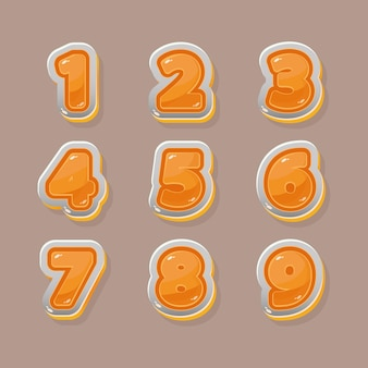 Números naranjas vectoriales para diseño gráfico y de juegos