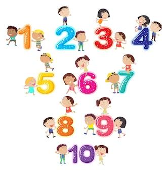 Números y niños felices
