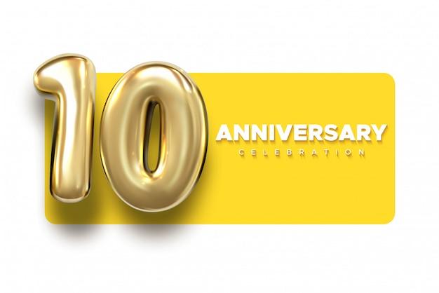 Números de oro de 10 aniversario. plantilla de fiesta de celebración del décimo aniversario.