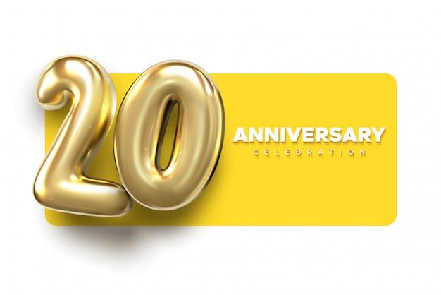 Números de oro del 20 aniversario. plantilla de fiesta de celebración del 20 aniversario.