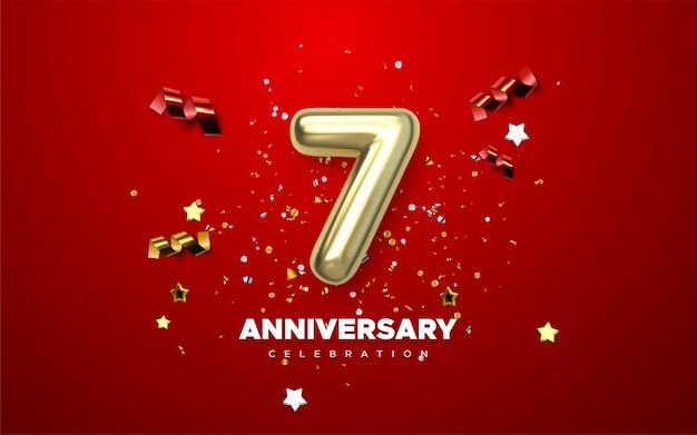 Números de oro del 7 aniversario con confeti dorado. plantilla de fiesta de celebración del séptimo aniversario.