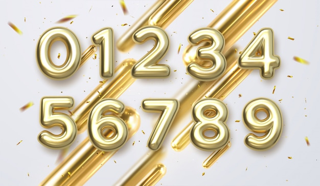 Números de oro de cumpleaños aislados sobre fondo blanco. elementos de diseño