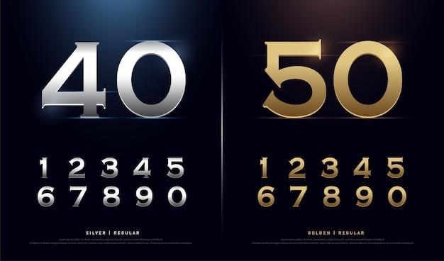 Números de oro y plata 1, 2, 3, 4, 5, 6, 7, 8, 9, 10