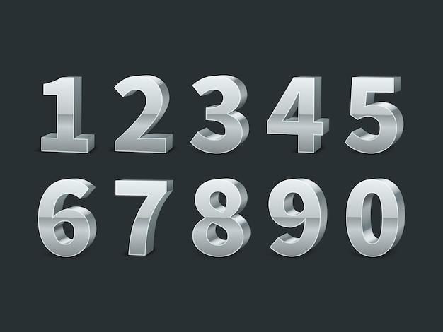 Números de plata 3d sobre fondo negro