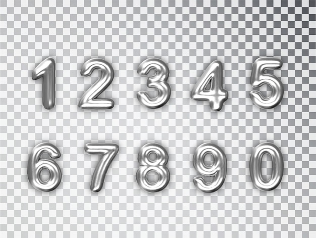 Números de plata conjunto aislado. realista plata brillante 3d números con sombra.
