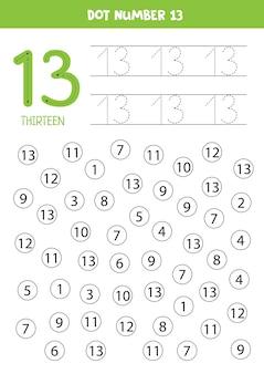 Números de puntos. número trece. juego educativo de matemáticas para niños.
