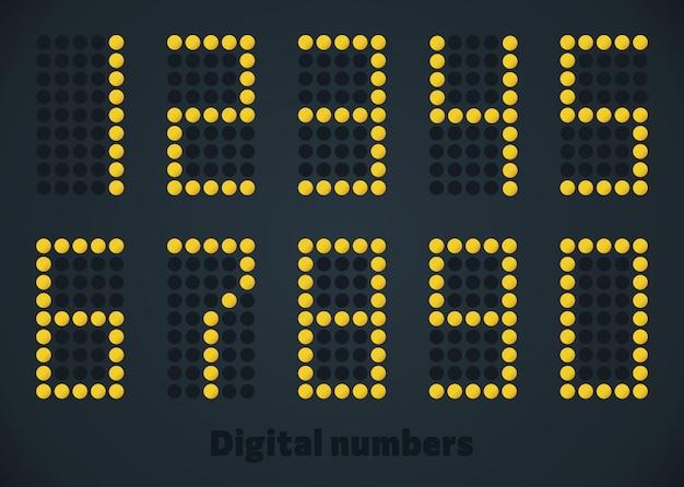 Números de puntos de oro de lujo en el panel negro