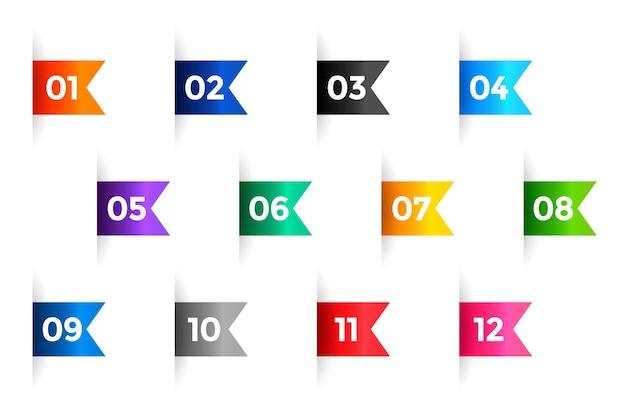 Números de puntos de viñeta de cinta del uno al doce