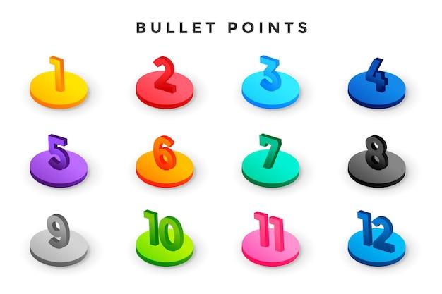 Números de puntos de viñeta de estilo 3d del uno al doce