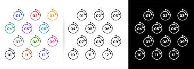 Números de puntos de viñeta de estilo de línea espiral del uno al doce