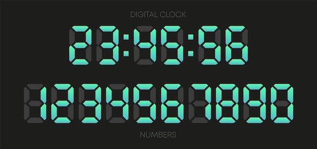 Números de reloj digital sobre fondo blanco. establecer números. ilustración vectorial.