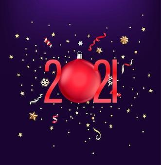 Números rojos realistas, confeti festivo, estrellas y copos de nieve.