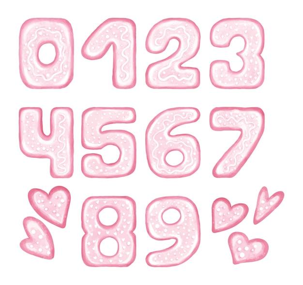 Números rosados con corazones