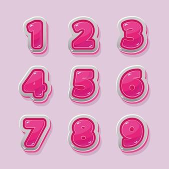 Números rosados del vector para el diseño gráfico y del juego