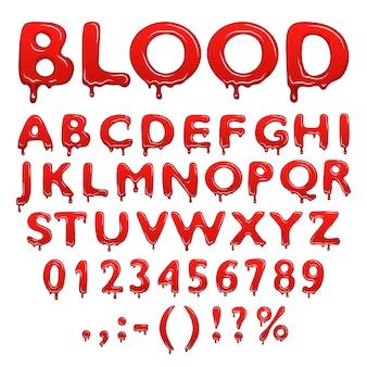 Números y símbolos del alfabeto de sangre