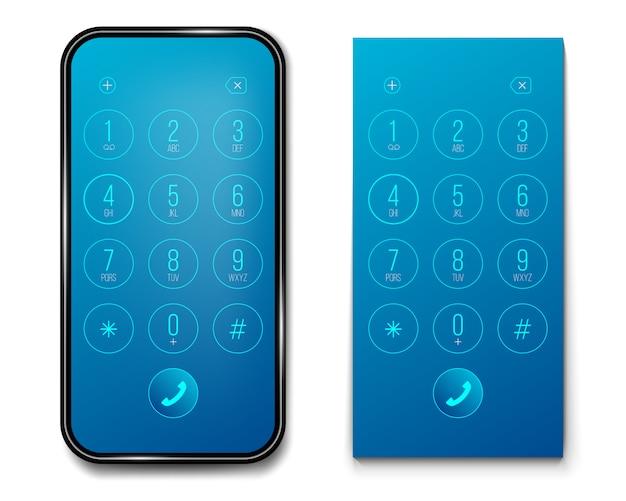 Números del teclado del teléfono inteligente.