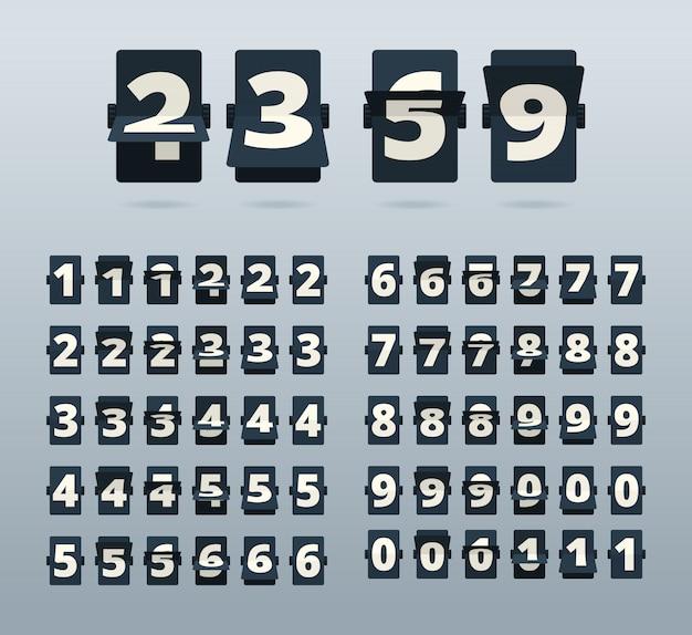 Números de tiempo. plantilla de cuenta regresiva de reloj flip