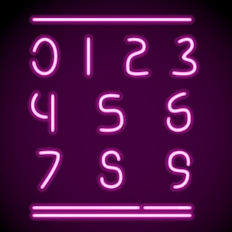 Números de tubos de neón