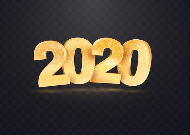 Números de vector dorado 2020 sobre fondo transparente