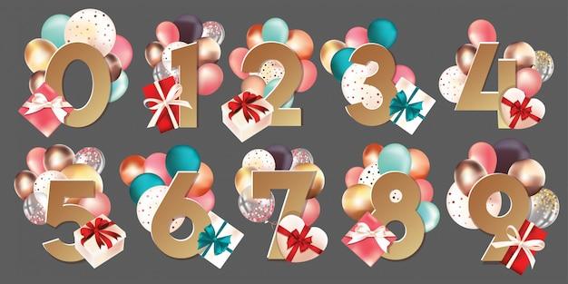 Números vectoriales con cajas y globos.