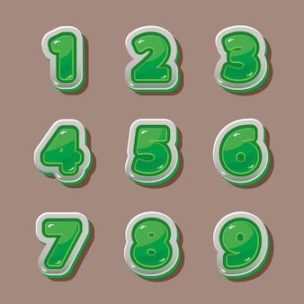 Números verdes vectoriales para diseño gráfico y de juegos