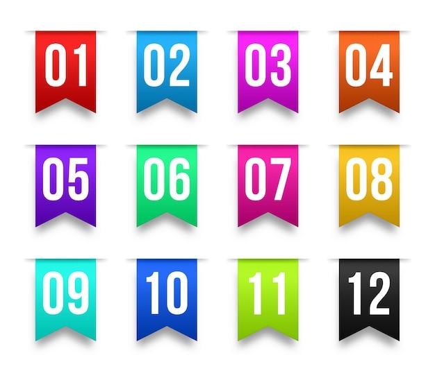 Números de viñetas del 1 al 12 marcadores de información conjunto de cintas de etiquetas coloridas