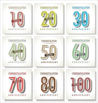 Números vintage retro aniversario