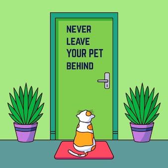 Nunca deje a su mascota detrás de la ilustración con gato