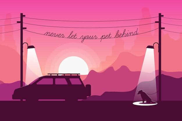 Nunca deje a su mascota detrás de la ilustración con perro y automóvil